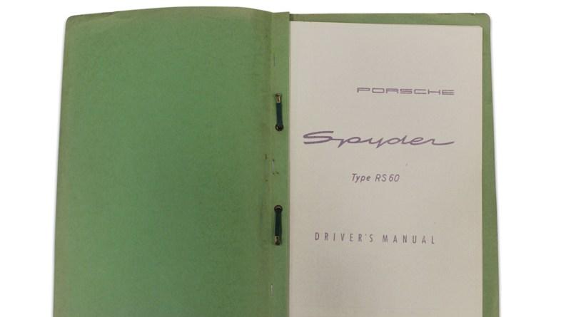Rare Porsche 718 RS60 Spyder Manual : Hammer price $11.400