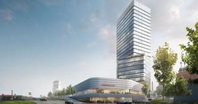 Porsche Design Tower and Porsche Centre at the Pragsattel.
