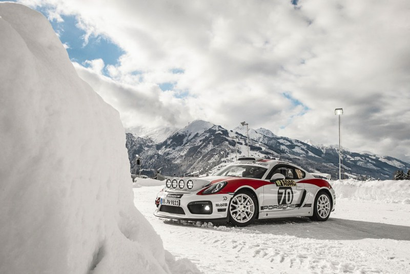 Rallying concept study Porsche Cayman GT4 Clubsport for the FIA R-GT category at the Porsche Winter Event in Zell am See (A)