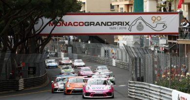 Start, Michael Ammermüller (D), Mikkel Overgaard Pedersen (DK), Larry ten Voorde (NL), Porsche Mobil 1 Supercup, Monaco 2019