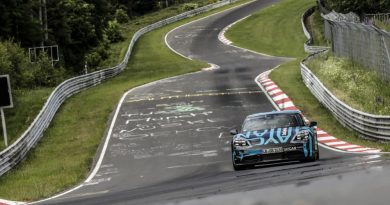 Porsche Taycan prototype on its record lap at the Nürburgring