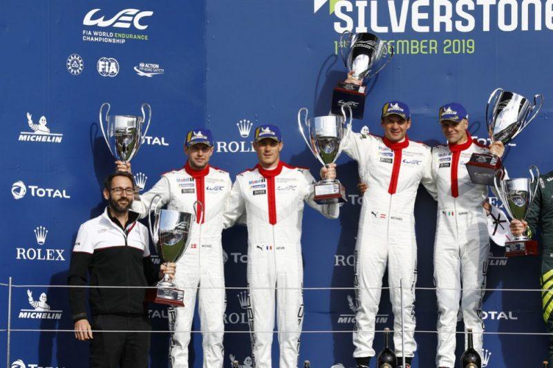 Jeromy Moore (Technical Project Leader Porsche 911 RSR), Porsche GT Team (92), Michael Christensen (DK), Kevin Estre (F), Porsche GT Team (91), Richard Lietz (A), Gianmaria Bruni (I) (l-r)