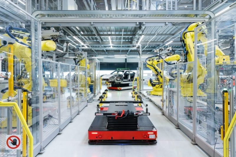 The Taycan gets produced in a factory of the future. It's production uses a Flexi-Line with driverless transport systems.
