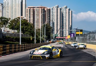 Podium for Laurens Vanthoor and Earl Bamber with the Porsche 911 GT3 R in the FIA GT race in Macau
