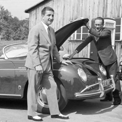 Racing driver, v. Frankenberg, v. Hanstein, l-r, 356 A 1500 GS Carrera Speedster, 1957