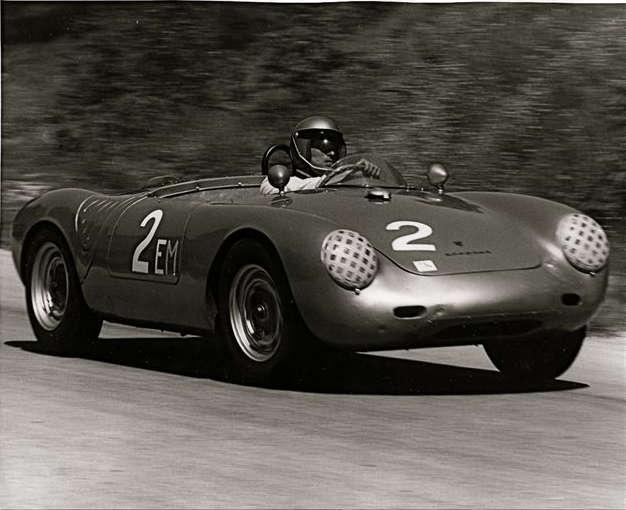 Chuck Stoddard in Porsche 550A-0141 at the 1962 Elkhart Lake race.
