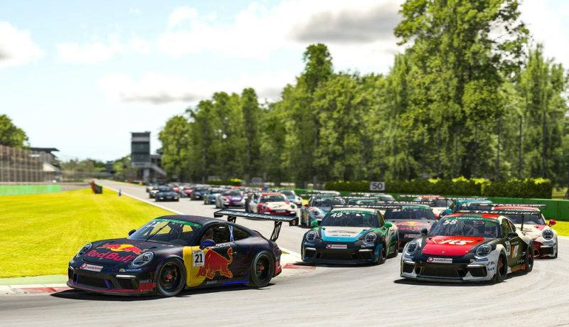 Porsche 911 GT3 Cup, Graham Carroll (GB), #21, Porsche TAG Heuer Esports Supercup, 2020, start race 2