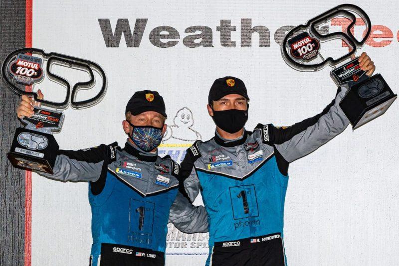 Wright Motorsports- Patrick Long (USA), Ryan Hardwick (USA) on the podium in Concord