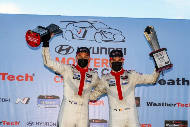 Porsche GT Team- Earl Bamber (NZ), Laurens Vanthoor (B) celebrate victory of the IMSA Weathertech Sportscar Championship race at the Laguna Seca