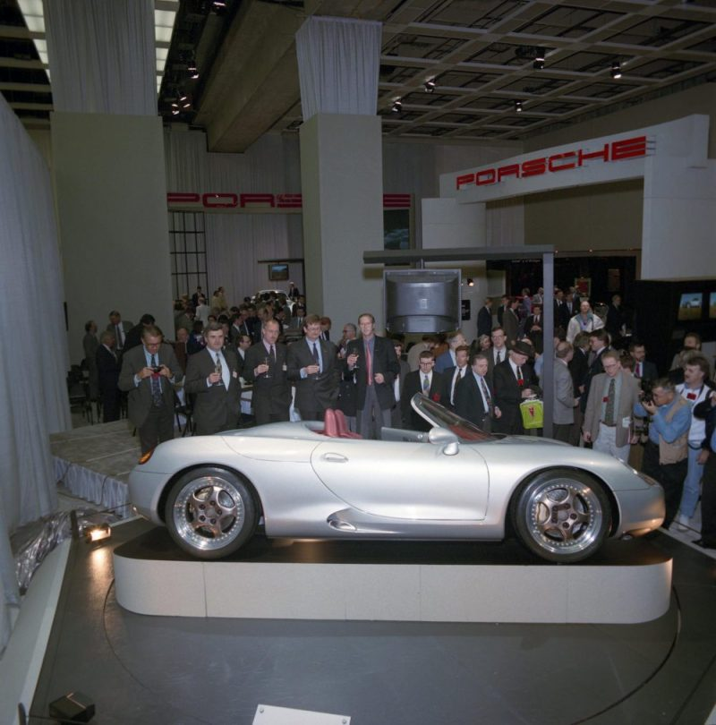 Presentation of the Porsche Boxster Concept Car at the 1993 Detroit Auto Show
