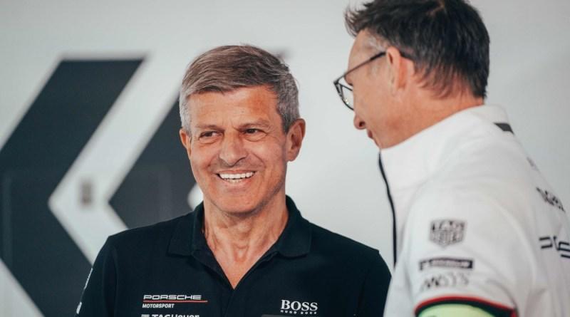Fritz Enzinger, Vice President Porsche Motorsport and Senior Vice President Group Motorsport Volkswagen AG (l) with Amiel Lindesay, Head of Operations Formula E