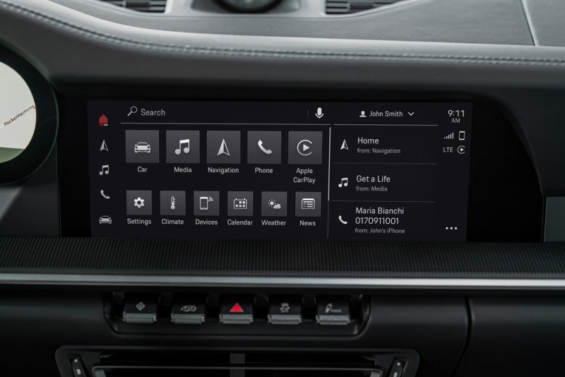Homescreen of the PCM 6.0 in the 911 Carrera