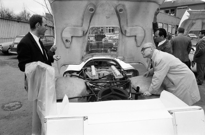 "1969: Ferdinand Piëch (left) next to the Porsche Type 917 LH Coupé at Porsche plant ""Werk 1""."