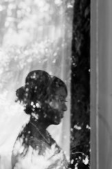 Black and White shot of bride reflection