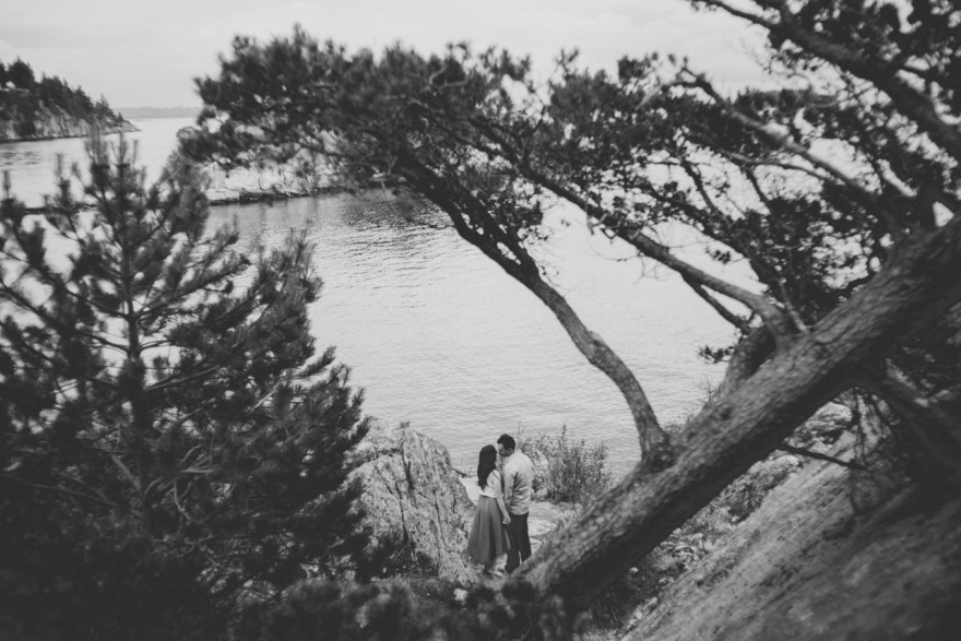 tabby & jimmy whytecliff west vancouver engagement photo shoot vancouver trees forest beach rock wedding west bc british columbia photography photo shoot