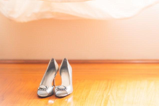 Wedding shoe and dress shot