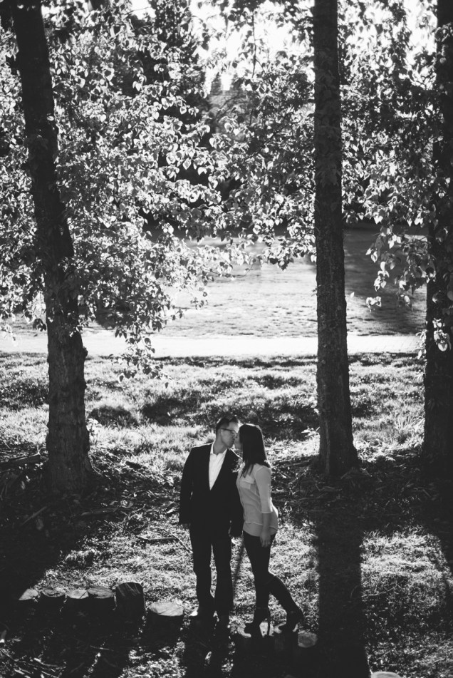 black and white tree engagement