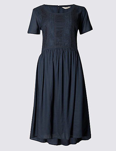 Embroidered French navy dress