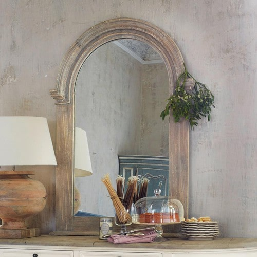 Ornate French style wooden mirror