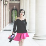 Hot pink asymmetrical skirt