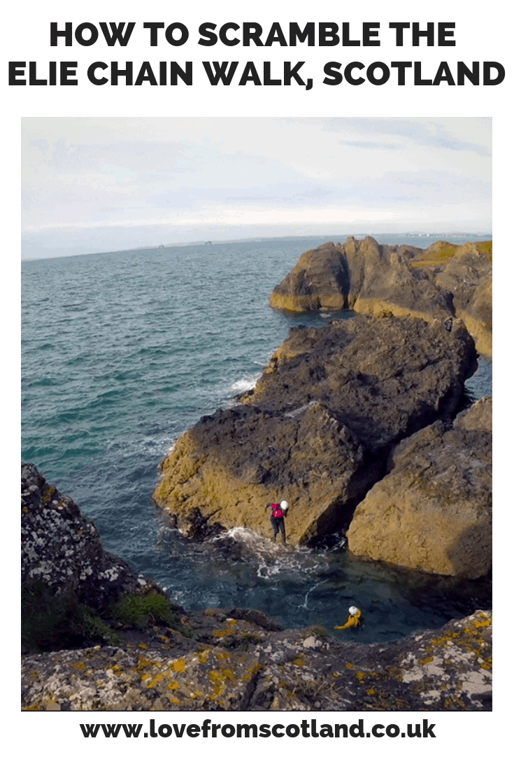 Scramble, coasteer and the amazing Elie Chain Walk on the Fife coast between Elie and Shell Bay - it is the Scottish version of a via ferrata!