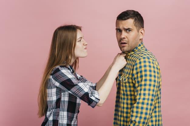 woman angry on man