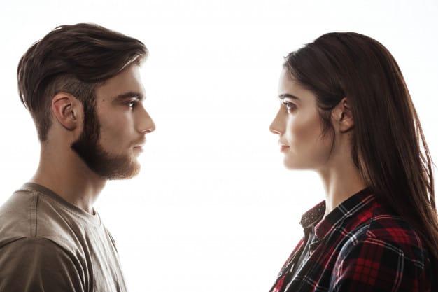 man woman eye contact