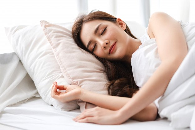 sleeping woman alone