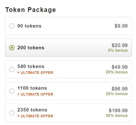 Stripchat token pricing