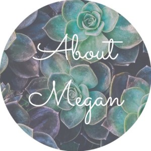 """A background of succulents with the text """"about Megan"""", She an anxiety therapist in Sacramento, CA. She offers online anxiety therapy, online couples sex therapy and other services."""