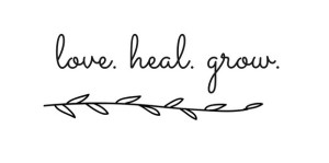 """The text """"love. heal. grow."""" over a twig. We offer anxiety treatment in Sacramento, CA, online anxiety therapy in Sacramento, CA, and other services. Contact a Sacramento therapist for support today!"""