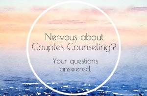 """A pastel background with the text """"Nervous about couples counseling Sacramento; questions answered."""" Contact a virtual sex therapist in Sacramento, CA for support with online couples therapy and marriage counseling in California."""