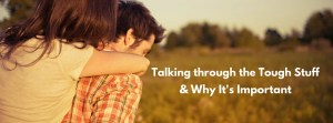 """A man gives his partner a piggyback ride while walking through a field with the text """"Talking through the tough stuff & why it's important."""" Contact an online couples therapist in Sacramento, CA & learn more about online couples sex therapy and other services."""