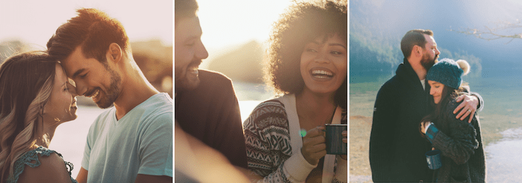 three images of happy couples smiling. Online couples therapy and marriage counseling in California can cultivate relationships. Contact a Sacramento therapist for support with marriage counseling and other services