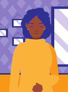 Graphic of a black woman smiling in front of mirrors for love heal grow. Contact a sacramento therapist for support overcoming anxiety. We offer online anxiety therapy, online therapy for teens and other services.