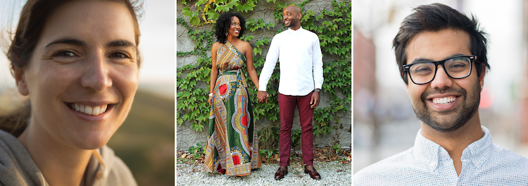 A trio of photos with individuals of different races smiling. The woman on the right and man on the left are smiling at the camera while the couple in the center hold hands. This could symbolize the hope felt after completing online anxiety therapy in California. We offer online therapy, teletherapy, and other services.