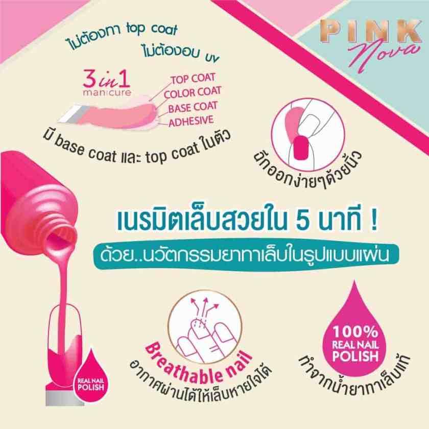 Pink Nova Nail Polish Strip Banner ยาทาเล็บ สติ๊กเกอร์เล็บ เล็บเจล mobile 2