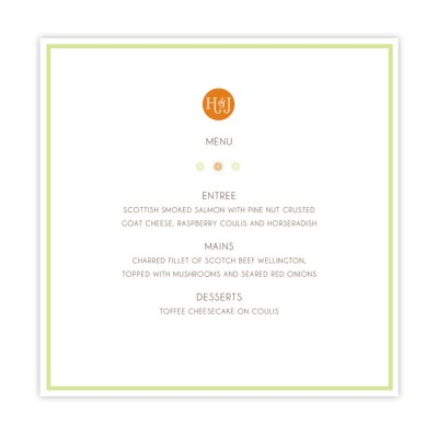 Wedding Menu spring blossom by Love Invited