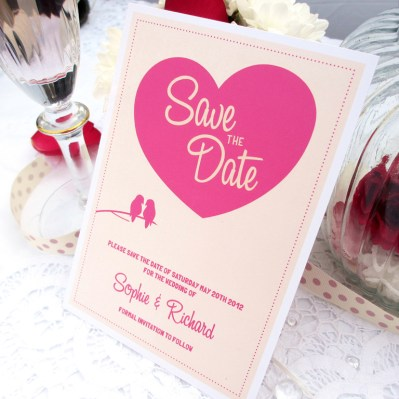 Wedding Save the Date lovebirds by Love Invited