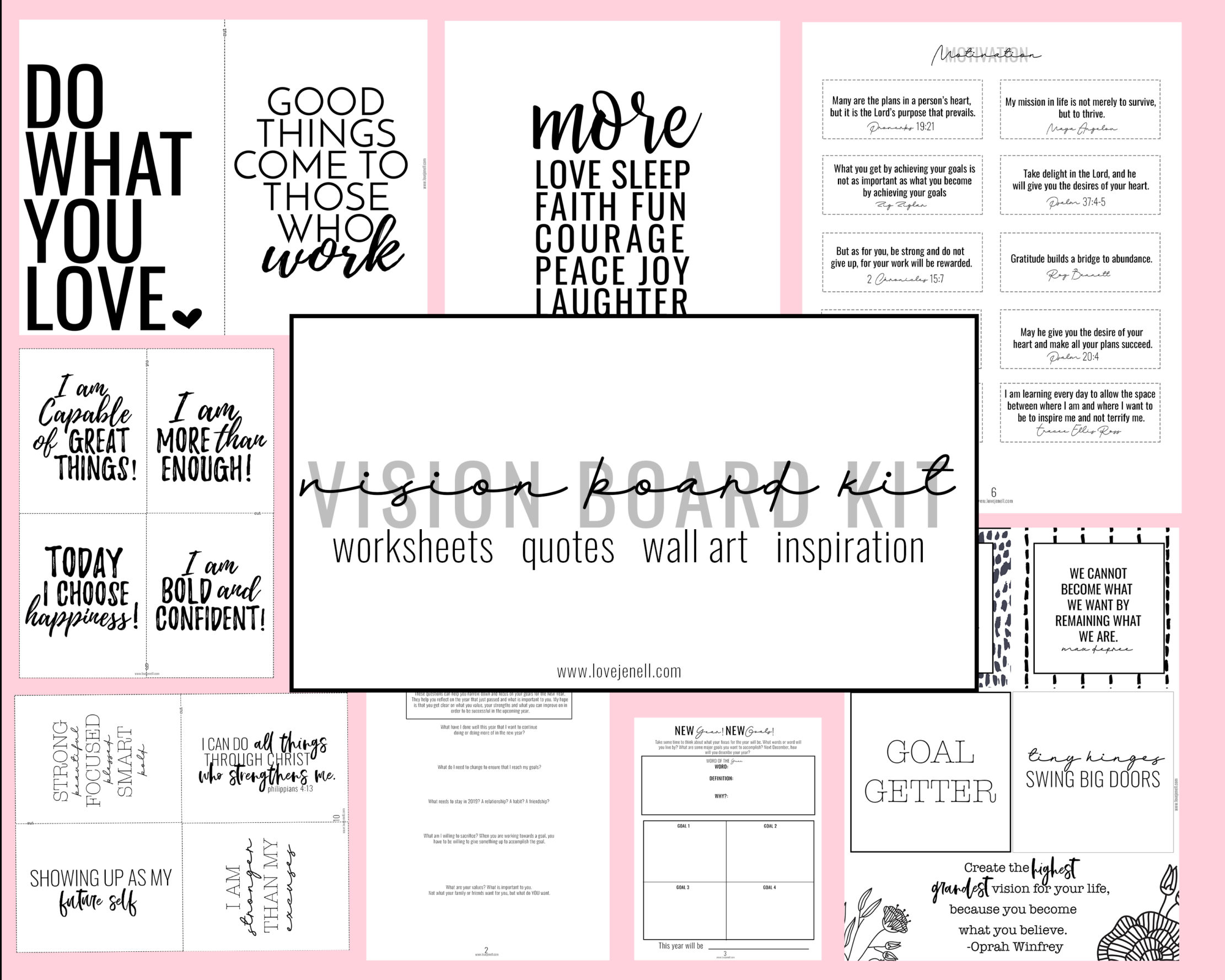 Reflection Free Vision Board Printable