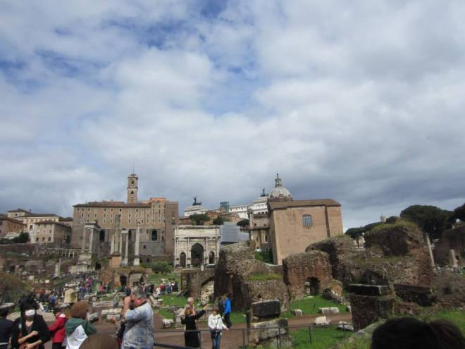 Walking through the Roman Forum and Palatine Hill.