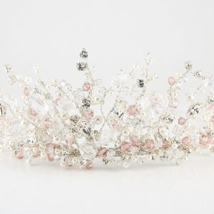 clear and blush crystal and pearl tiara