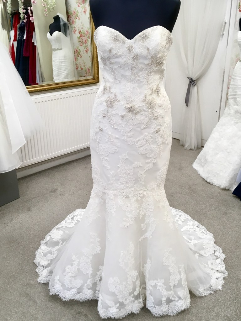 front view of enzoani harrogate wedding dress
