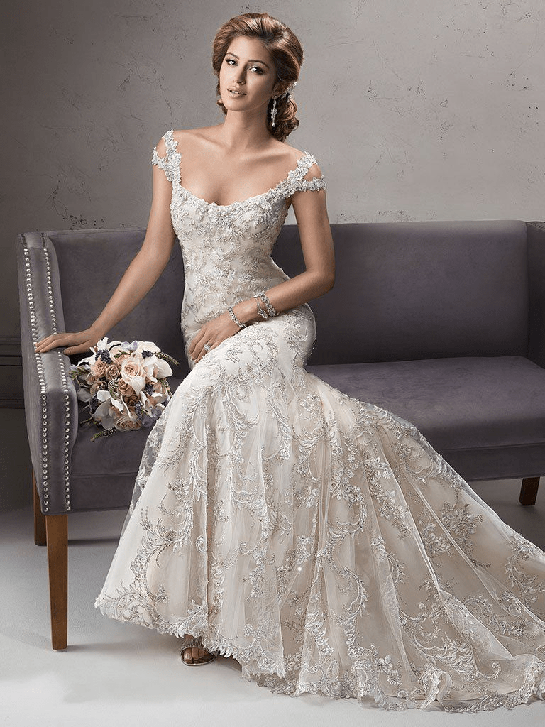 Sottero and Midgley Ettiene ivory gold front view