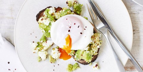 Healthy breakfast of poached eggs and avocado on toast