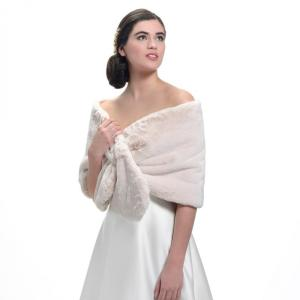 BOL-52 faux fur and lace stole ivory
