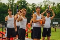 Jaylin Greiser Shane Chrusniak, Remi George, Gabe Rubio and Joe Timmerman ride the Nerf War Champion float