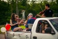 Megan Pedicini, Jace Nivens and Jacob Kiley play a string quintet