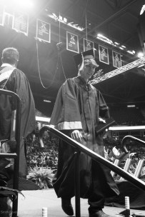 Caspar Zierden exits the stage after walking for his diploma