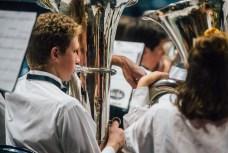 A student plays tuba